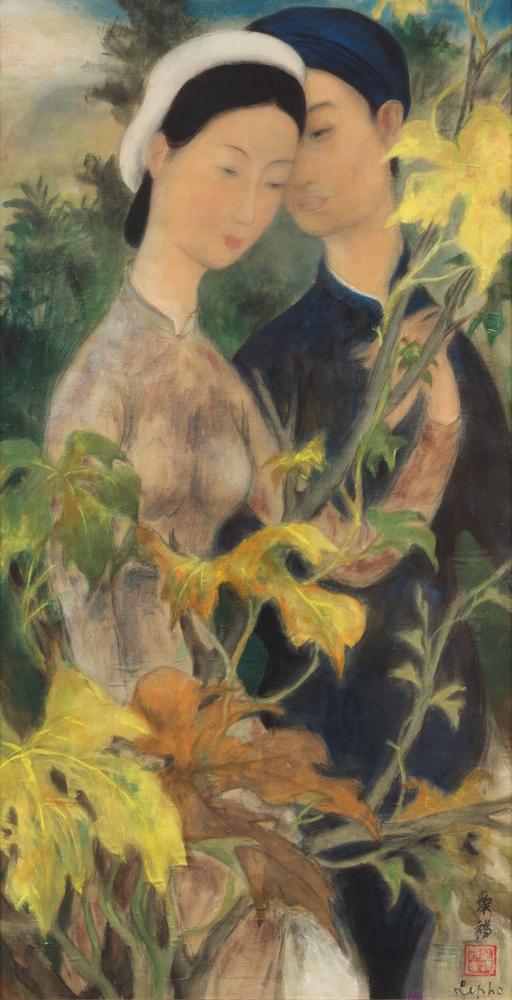 Le Pho - « Couple d'amoureux parmi les feuilles de figuier » Gouache et encre sur soie Peinte circa 1938