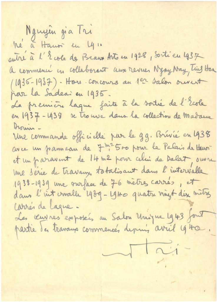 Curriculum vitae of Nguyen Gia Trí written by the artist himself, Hanoi, 1943.