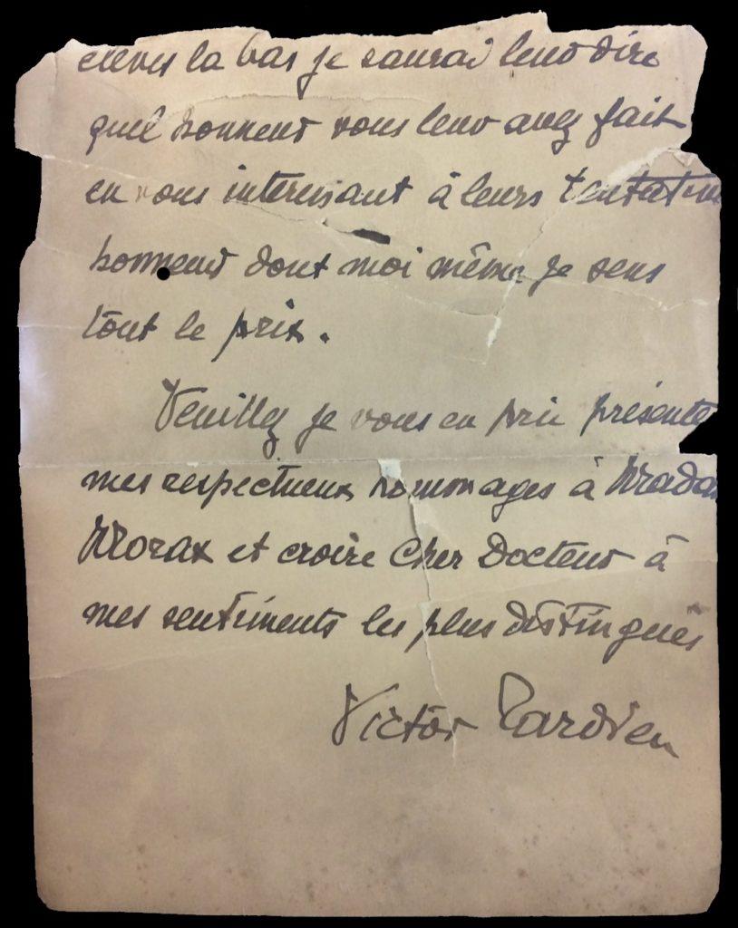 Lettre de Victor Tardieu au Dr. Morax.