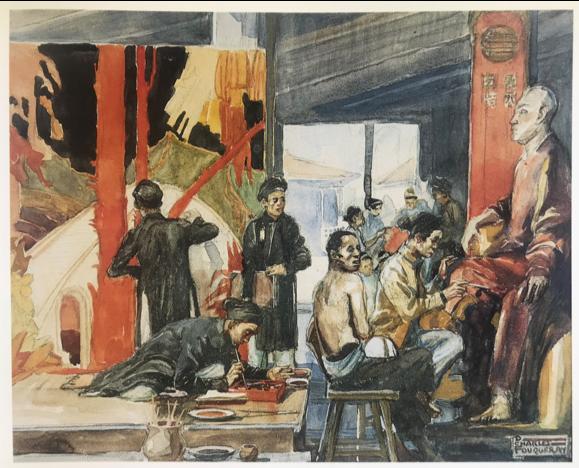 Charles Fouqueray - « L'atelier de laque ». Hanoi 1922. Aquarelle. Dimensions: 31,5 x 39 cm