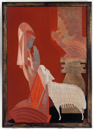 Jean Dunand « Femme et mouton ». Laque, 1926.  88 x 62,6 cms