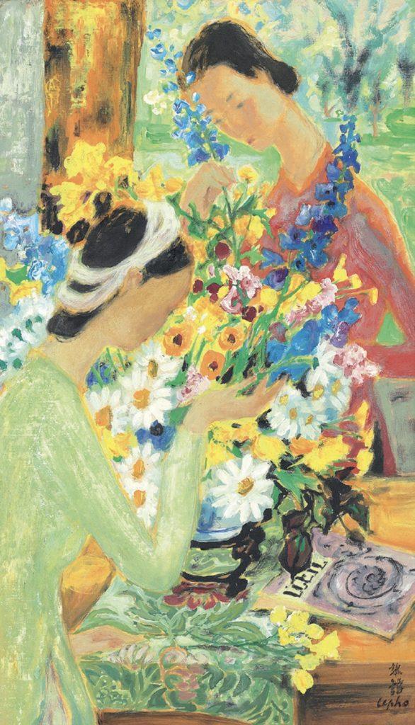 « La préparation du bouquet ». Gouache et encre sur soie.Circa 1956. Dim : 45,5 cms x 26,6 cms