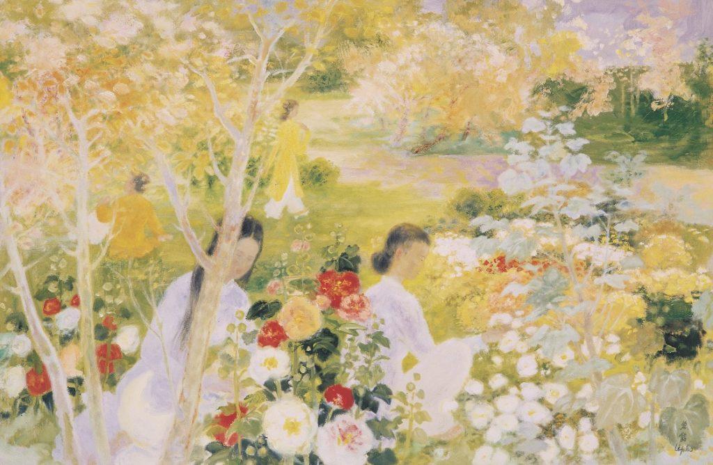 « La préparation de l'été ». Huile sur toile. Circa 1975. 130,5 cms X 195 cms.