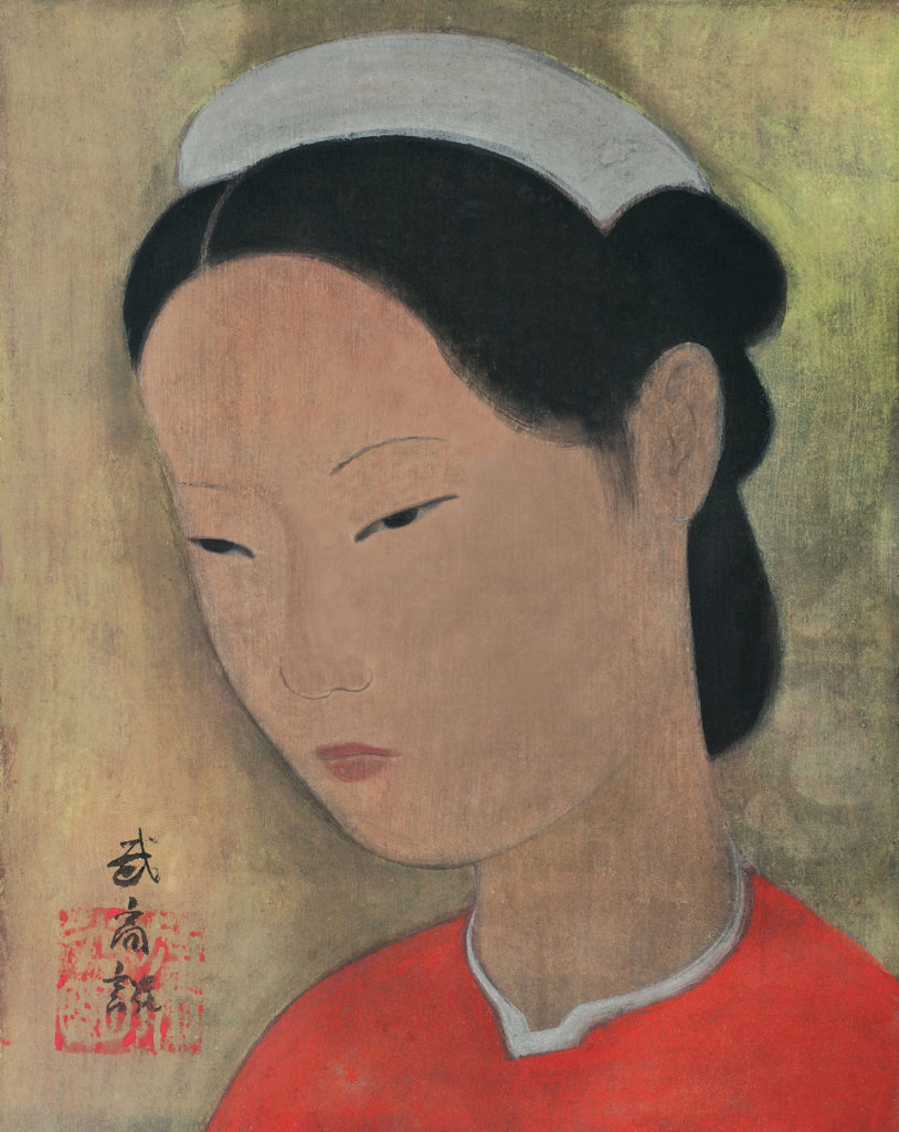 Vu Cao Dam - Portrait of a young girl. Gouache and ink on silk.