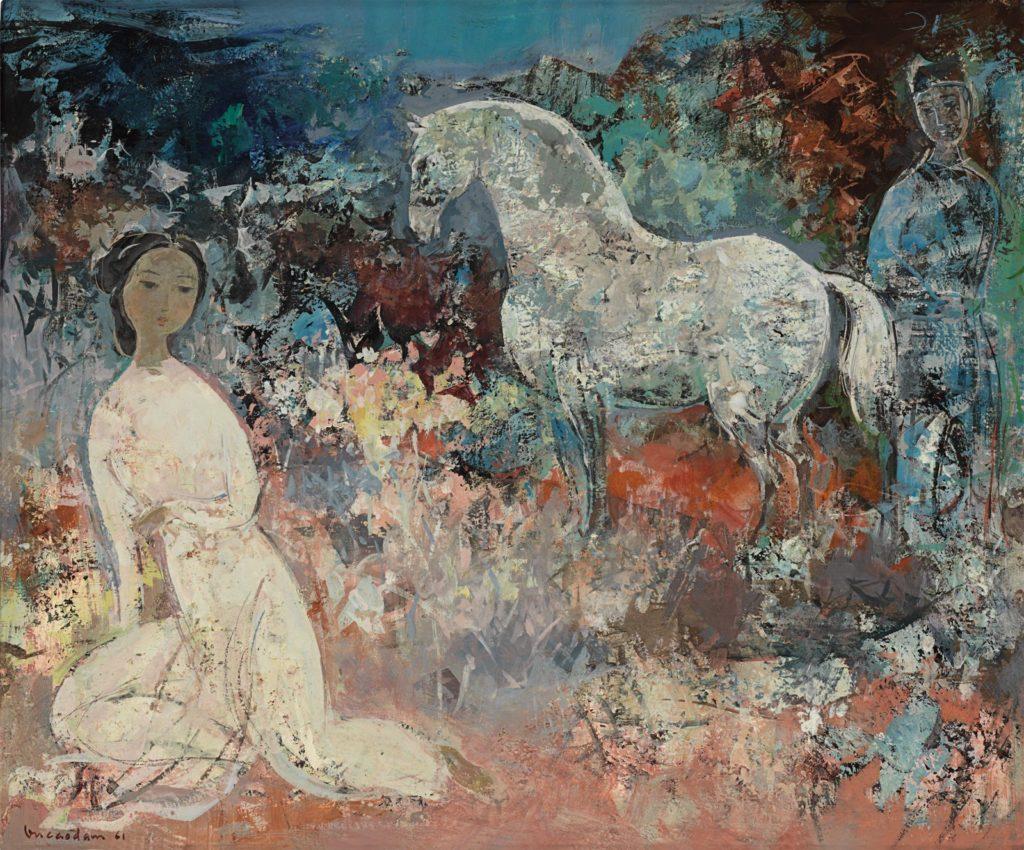 Vu Cao Dam - Le Cheval Blanc, oil on canvas, 52 x 63.5 cm. Circa 1961.