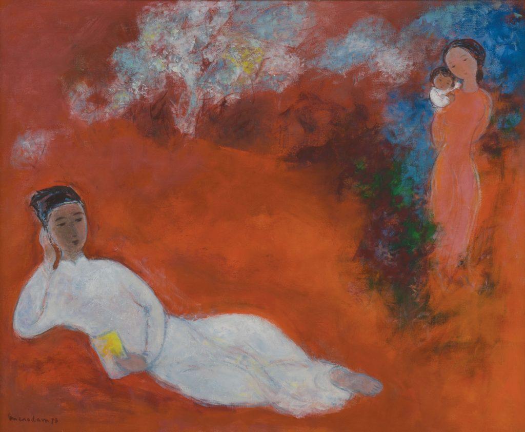 Vu Cao Dam - Composition, oil on canvas, 81.5 x 100 cm. Circa 1978
