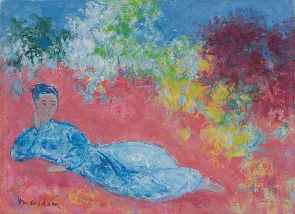 Vu Cao Dam - Le Poète, oil on canvas, 24.5 x 33 cm.