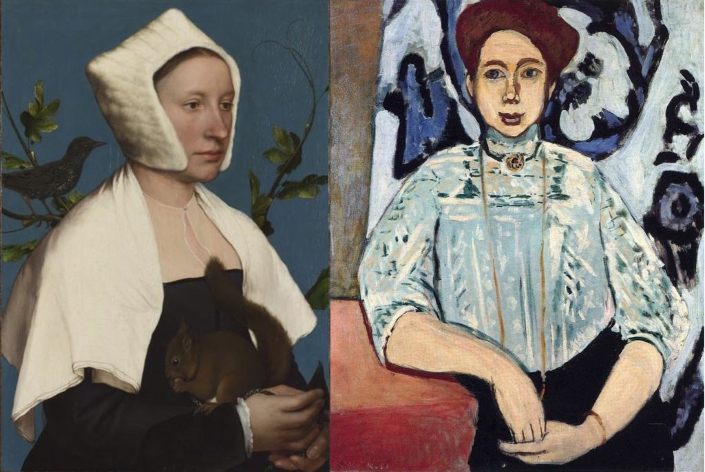 """From left to right : Hans Holbein the Younger, """"Lady with the Squirrel and Starling"""", 1526-29, the National Gallery, London, Et Henri Matisse, """"Portrait de Greta Moll"""", 1908, The National Gallery, London"""