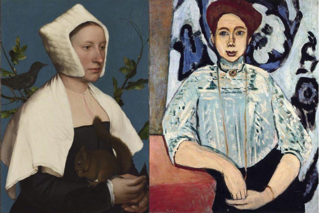 De gauche à droite : Hans Holbein le jeune, « Dame à l'écureuil et à l'étourneau », 1526-29, the National Gallery, Londres, Et Henri matisse, « Portrait de  Greta Moll », 1908, The National Gallery, Londres