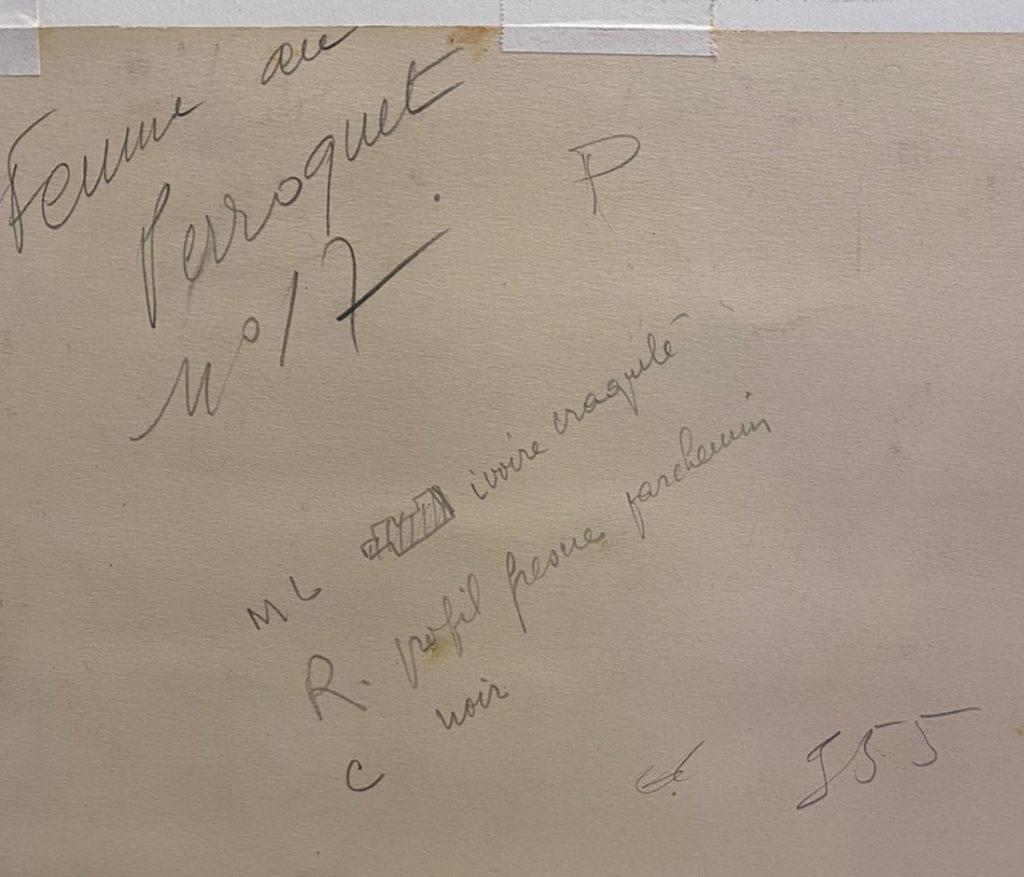 Sur le dos de l'oeuvre, inscrit de la main de Le Pho
