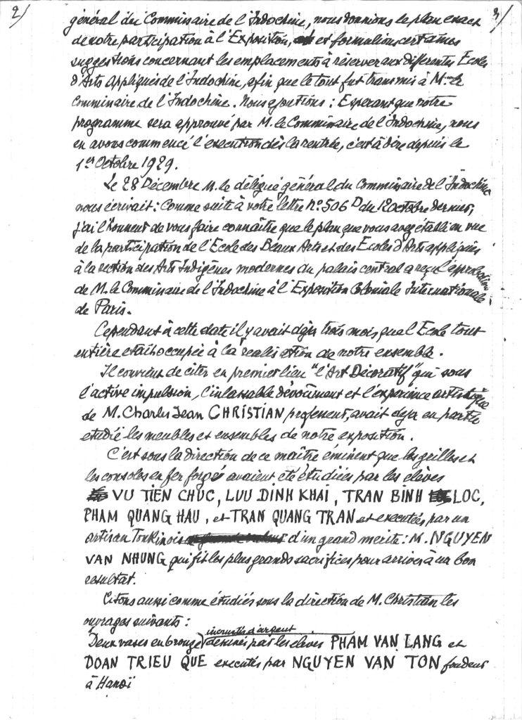 Victor Tardieu confiant à Tran Quang Tran l'étude de «grilles et consoles de fer forgé»