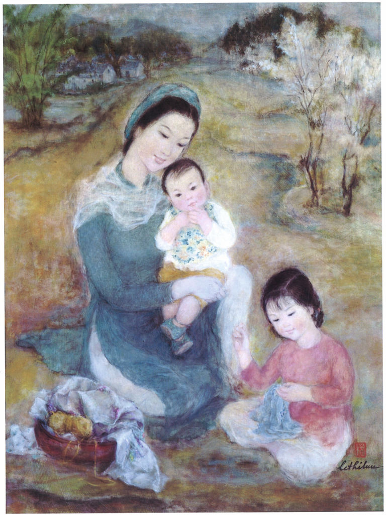 Le Thi Luu – Femmes et enfants Ink and gouache on silk, 1960-65