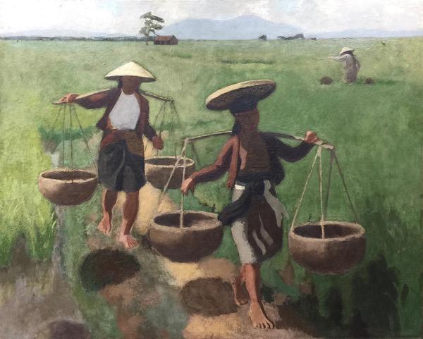 «Paysans dans la rizière». Oil on canvas (160x130cm) circa 1935