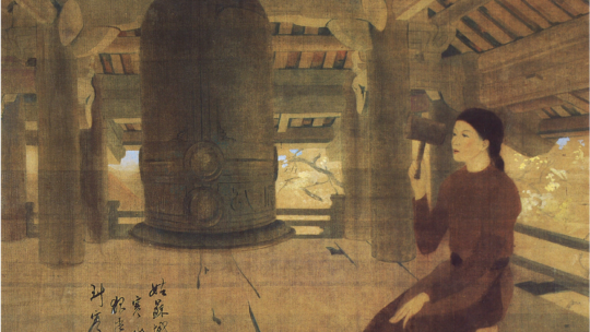Late Afternoon Chimes: a masterwork of Vietnamese painting by Luong Xuan Nhi